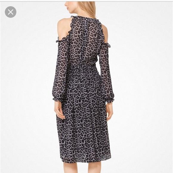7fb2efff7694 Michael Michael Kors leopard cold shoulder dress. M_5b43dcbaaaa5b839d896f585